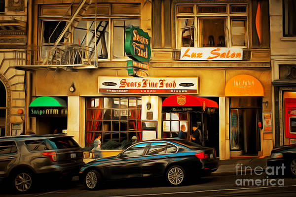 Photograph - Nostalgic Sears Fine Food Restaurant San Francisco Dsc885brun by Wingsdomain Art and Photography