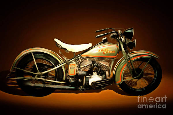 Photograph - Nostalgic Vintage Harley Davidson Motorcycle 20150227n2 by Wingsdomain Art and Photography