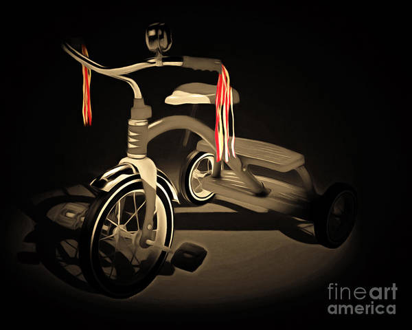 Photograph - Nostalgic Vintage Tricycle 20150225 Sepia by Wingsdomain Art and Photography