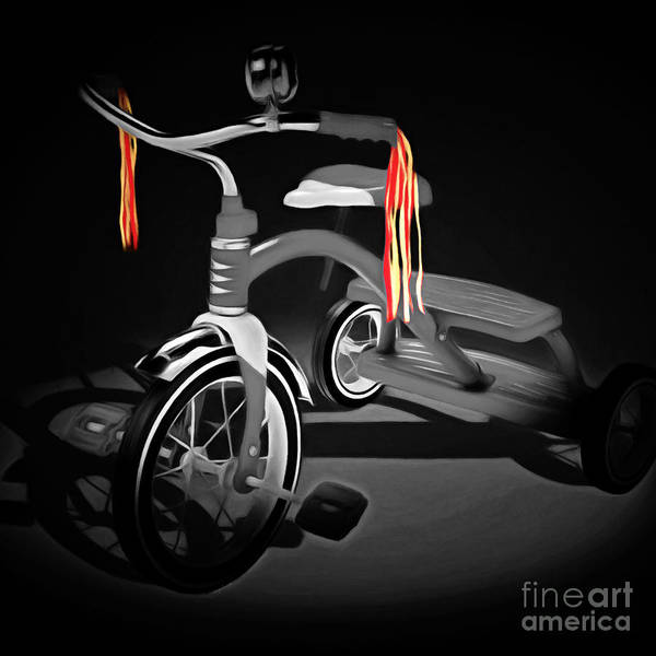 Photograph - Nostalgic Vintage Tricycle 20150225 Square Bw by Wingsdomain Art and Photography