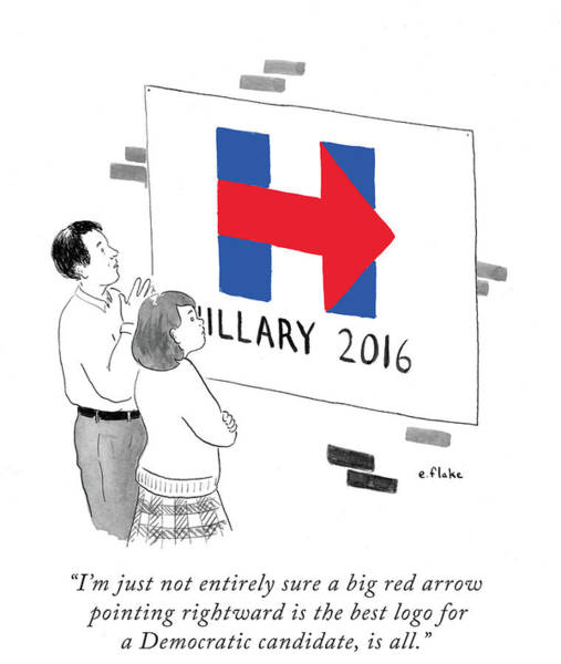 2016 Election Drawing - Not Entirely Sure A Big Red Arrow Pointing by Emily Flake