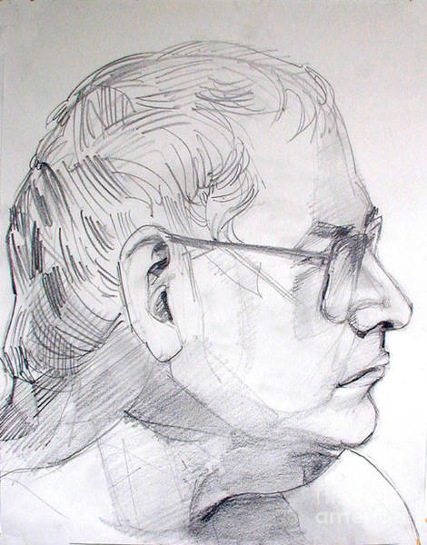 Drawing - Graphite Portrait Life Drawing Sketch Not So Young Anymore by Greta Corens