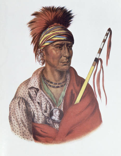 Medallion Wall Art - Photograph - Notchimine Or No Heart, An Iowa Chief, 1837, Illustration From The Indian Tribes Of North America by Charles Bird King