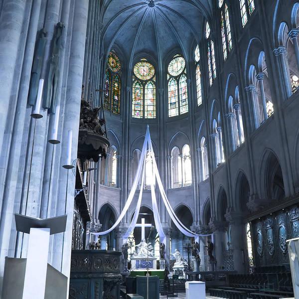 Evie Photograph - Notre Dame Altar Teal Paris France by Evie Carrier