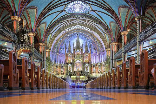 Old Montreal Photograph - Notre Dame Basilica - Montreal by S. Greg Panosian