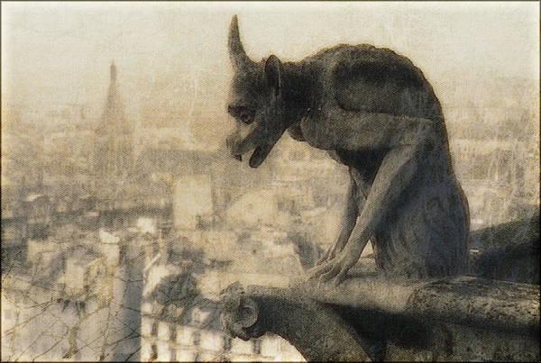 Painting - Notre Dame Cathedral Gargoyle by Douglas MooreZart