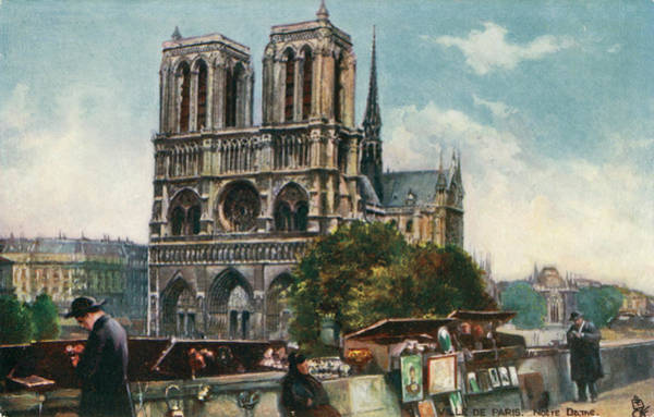Wall Art - Drawing - Notre Dame Cathedral, Paris - Viewed by Mary Evans Picture Library
