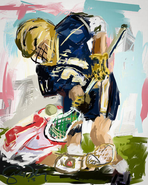 Lax Painting - College Lacrosse Faceoff 1 by Scott Melby