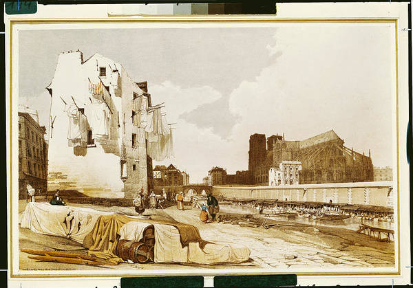 Wall Art - Photograph - Notre Dame From The Quai St. Bernard Colour Litho by Thomas Shotter Boys