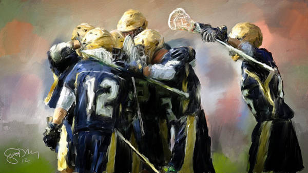 Notre Dame Painting - College Lacrosse Celebration  by Scott Melby