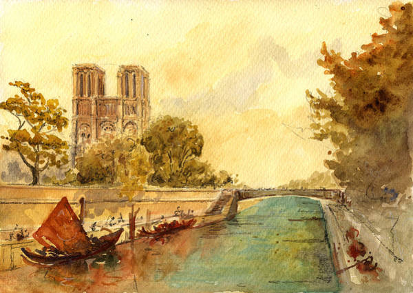 Cathedral Painting - Notre Dame Paris. by Juan  Bosco