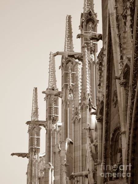 Photograph - Notre Dame Sentries Sepia by HEVi FineArt