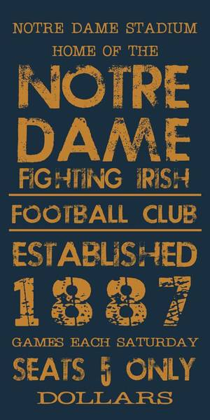 Sport Digital Art - Notre Dame Stadium Sign by Jaime Friedman