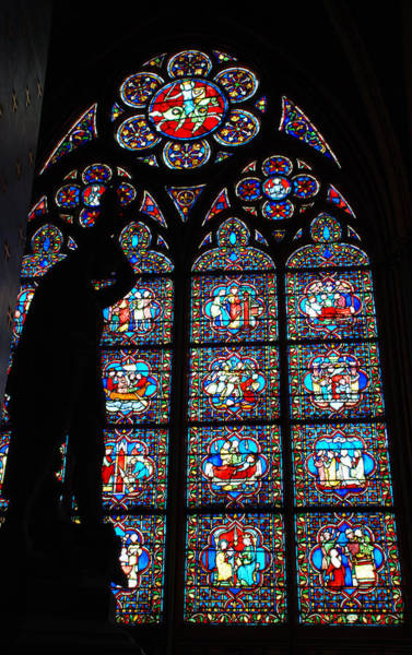 Photograph - Notre Dame Stained Glass Silhouette by Jennifer Ancker