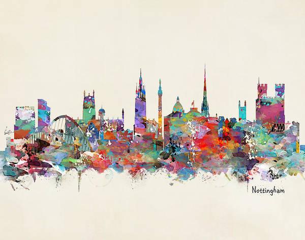 Throws Painting - Nottingham City Skyline by Bri Buckley
