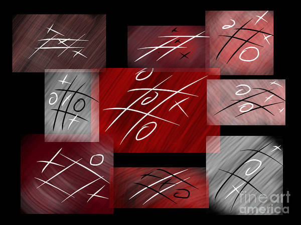 Pink And White Digital Art - Noughts And Crosses by Rob Hawkins