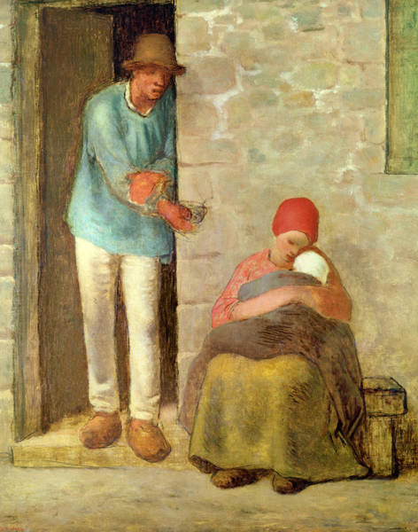 Poverty Wall Art - Painting - Nourishment, 1858 by Jean-Francois Millet