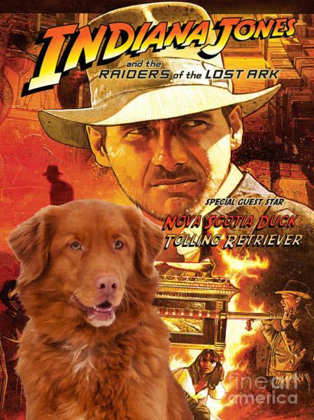 Nova Scotia Painting - Nova Scotia Duck Tolling Retriever Art Canvas Print - Indiana Jones Movie Poster by Sandra Sij
