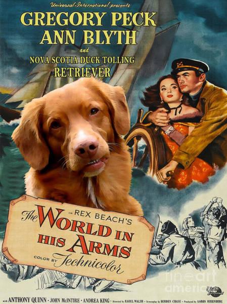 Nova Scotia Painting - Nova Scotia Duck Tolling Retriever Art Canvas Print - The World In His Arms Movie Poster by Sandra Sij