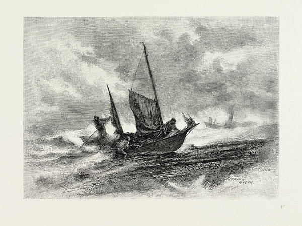 Stormy Drawing - Nova Scotia, Fishermen Landing In A Gale by Canadian School