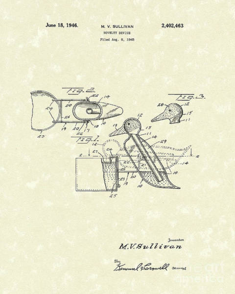 Drawing - Novelty Duck 1946 Patent Art by Prior Art Design