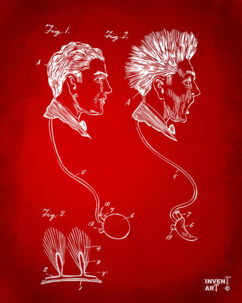Bad Hair Wall Art - Digital Art - Novelty Wig Patent Artwork Red by Nikki Marie Smith