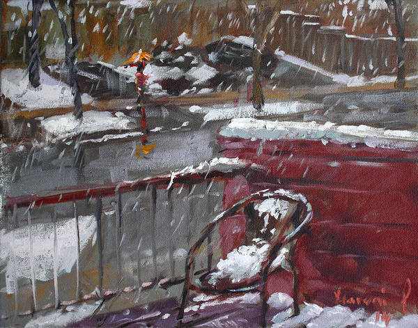 Snowscape Painting - First Snowfall Nov 17 2014 by Ylli Haruni