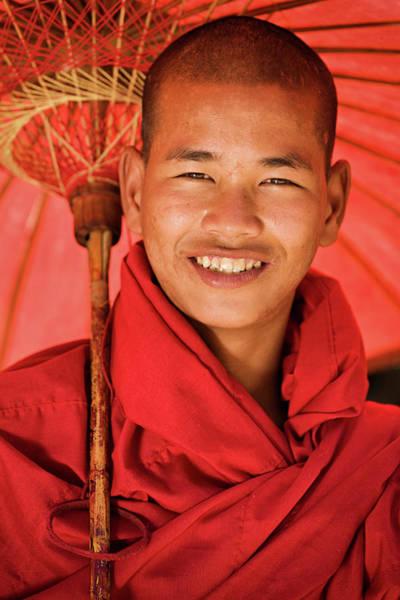 Shaved Head Photograph - Novice Buddhist Monk, Myanmar by Hadynyah