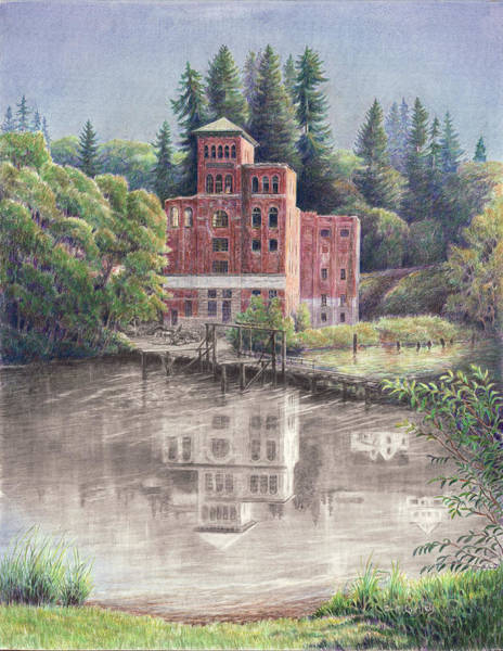 Drawing - Now And Then - Old Olympia Brewery by Laurie McGinley