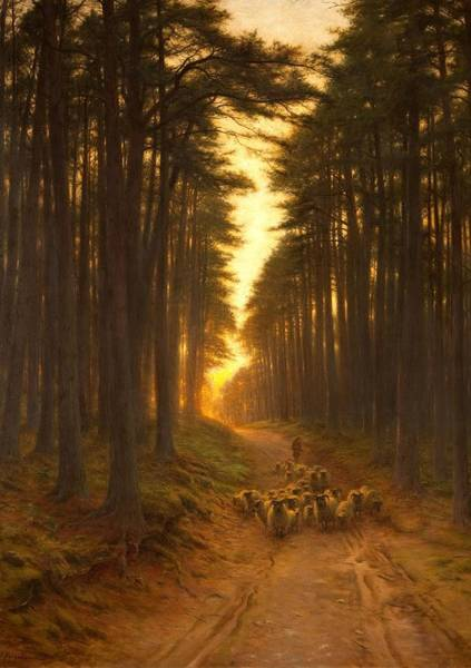 Lane Painting - Now Came Still Evening On, Circa 1905 by Joseph Farquharson