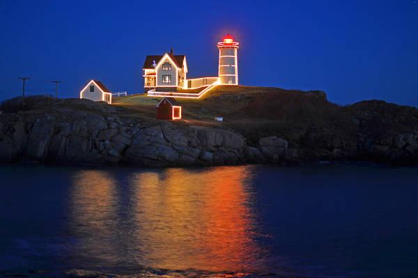 Photograph - Nubble Light In York Me Cape Neddick Christmas Blue Sky by Toby McGuire