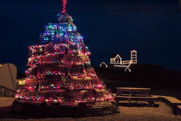 Photograph - Nubble Lighthouse And Lobster Pot Tree by Jeff Folger