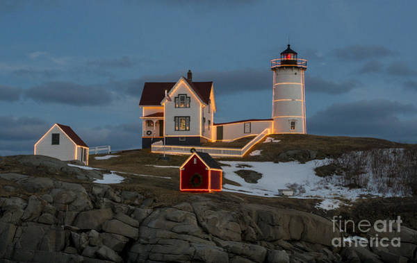 Nubble Lighthouse At Christmas Art Print