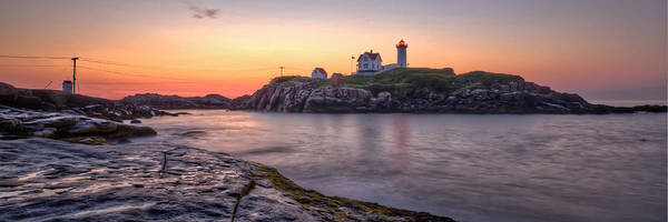 Photograph - Nubble Lighthouse Before Sunrise - Panorama by At Lands End Photography