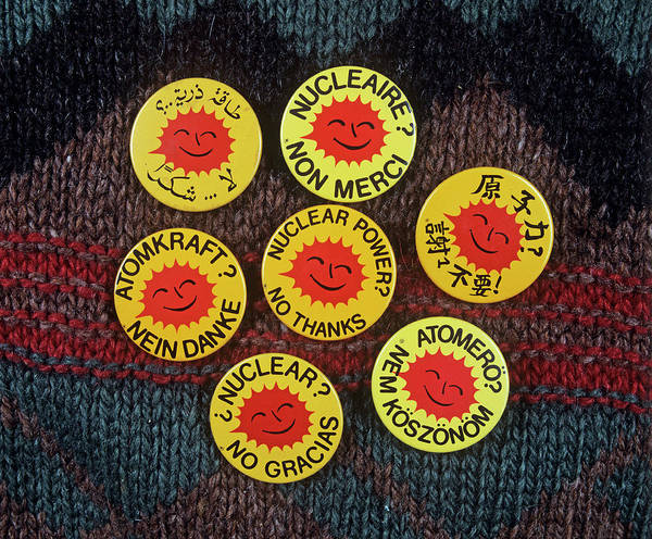 Demonstrating Wall Art - Photograph - \nuclear Power? No Thanks\ Badges by Martin Bond/science Photo Library