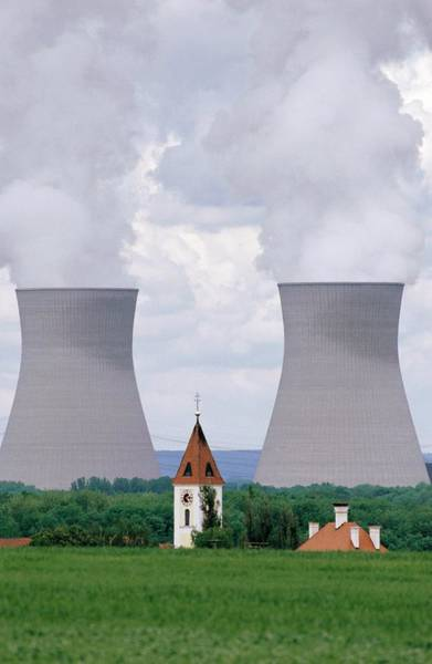 Steeple Wall Art - Photograph - Nuclear Power Plant Cooling Towers by Peter Menzel/science Photo Library