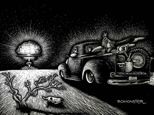 Wall Art - Drawing - Nuclear Truck by Bomonster