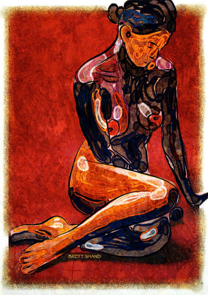 Nude - Woman Sitting Art Print