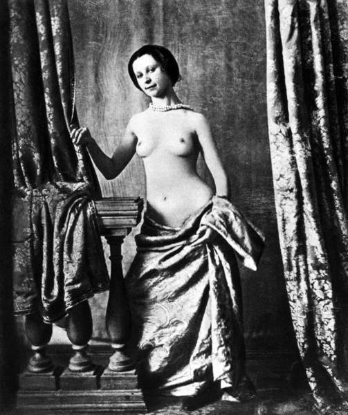 Wall Art - Photograph - Nude And Curtains, C1850 by Granger