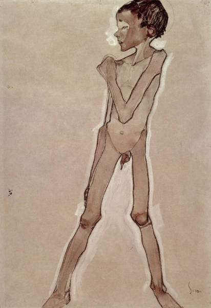 Photograph - Nude Boy Standing Drawing by Egon Schiele
