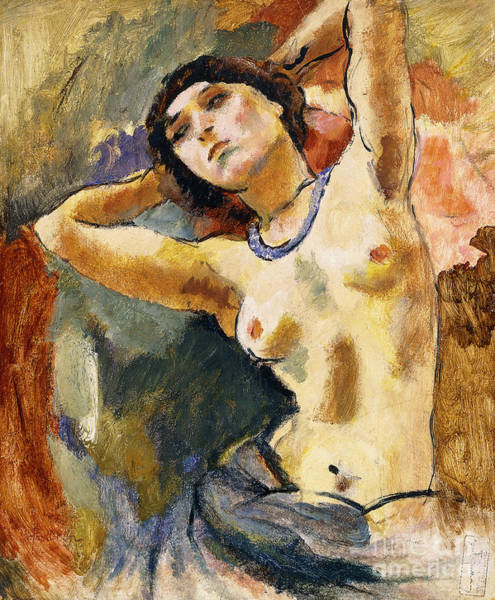 Posture Painting - Nude Brunette With Blue Necklace Nu La Brune Au Collier Bleu by Jules Pascin