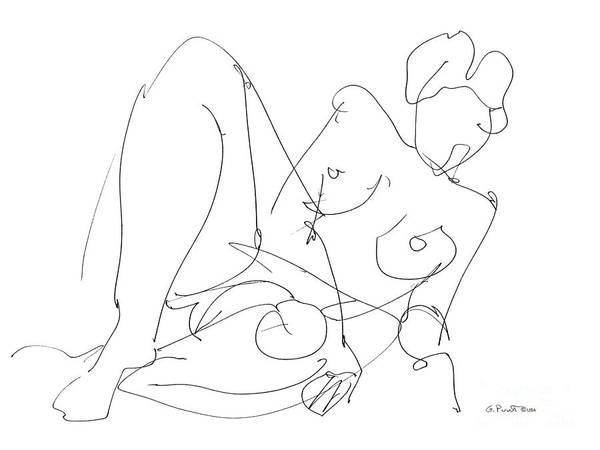 Drawing - Nude Female Drawings 15 by Gordon Punt