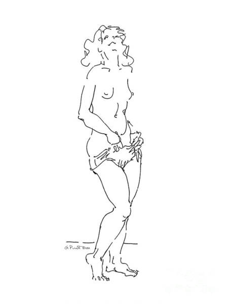 Drawing - Nude Female Drawings 4 by Gordon Punt