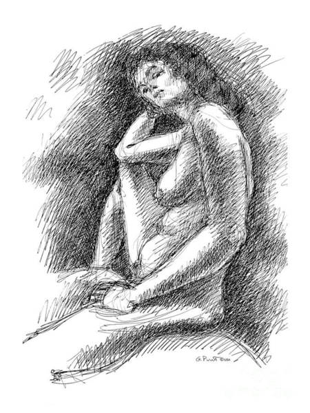 Drawing - Nude Female Sketches 3 by Gordon Punt
