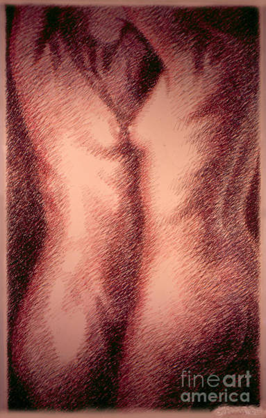 Drawing - Nude Female Torso Drawings 1 by Gordon Punt