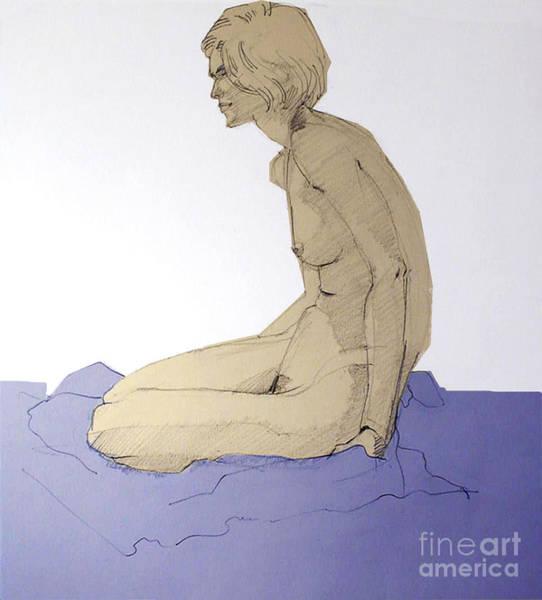Drawing - Nude Figure In Blue by Greta Corens