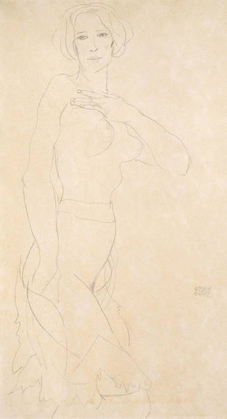 Drawing - Nude Girl by Egon Schiele
