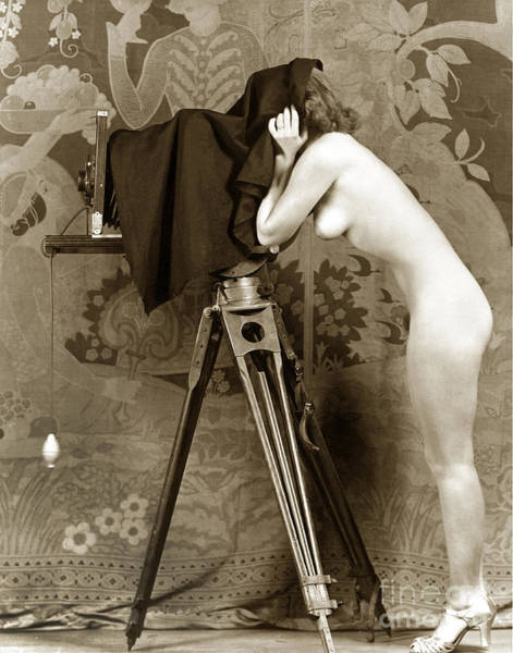 Photograph - Nude In High Heel Shoes With Studio Camera Circa 1920 by California Views Archives Mr Pat Hathaway Archives