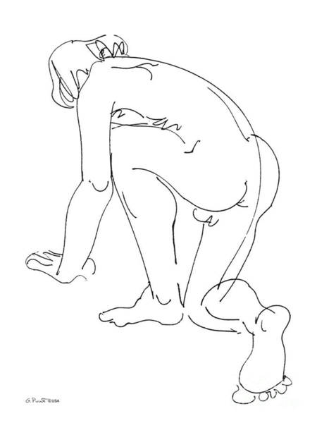 Drawing - Nude-male-art-20 by Gordon Punt