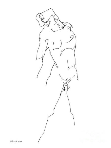 Male Model Drawing - Nude-male-drawing-11 by Gordon Punt